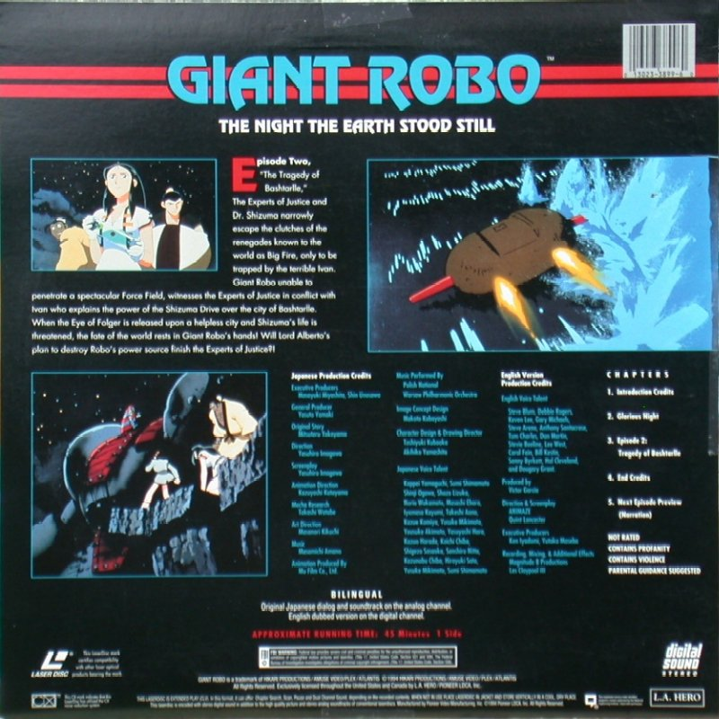 "Giant Robo: The Night the Earth Stood Still Volume 1, Episode 2 ""The Tragedy of Bashtarlle"": Back"